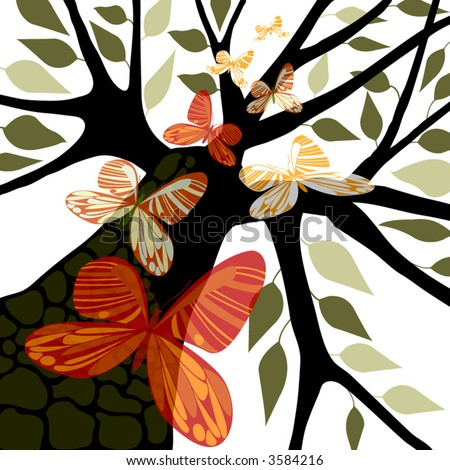 Tree silhouette with red, orange, green butterflies & green leaves, white background, vector illustration, eps10 - stock vector