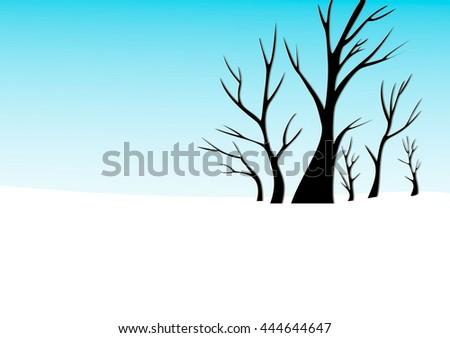 tree skyline panorama winter - stock vector