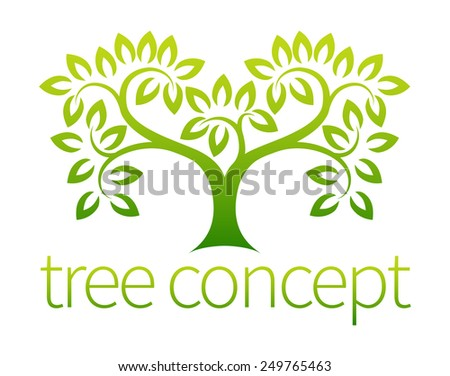 Tree symbol concept of a stylised tree with leaves, lends itself to being used with text - stock vector