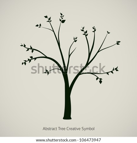 Tree symbol design, black silhouette on vintage paper - stock vector