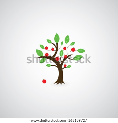 tree symbol  on gray background  - stock vector