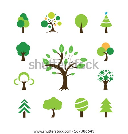 tree symbol  on white background  - stock vector