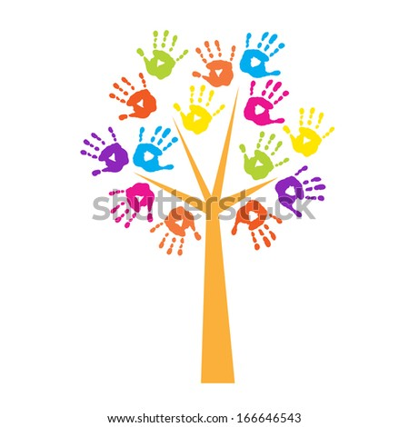 Tree with a handprints instead of leaves - stock vector