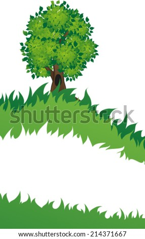 Tree with a hole on meadow. Summer landscape nature. - stock vector