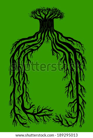 tree with big roots - stock vector