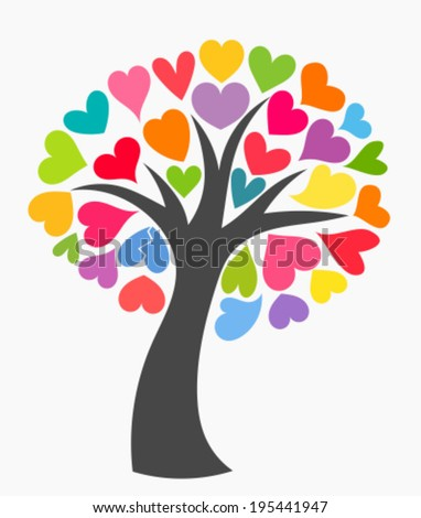 Tree with colorful leaf hearts. Vector illustration - stock vector