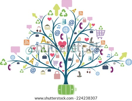 tree with communication icons. Vector illustration. - stock vector