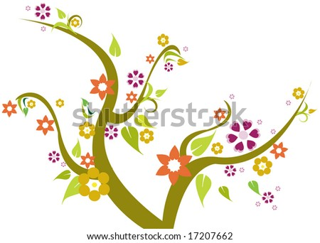 tree with floral - stock vector