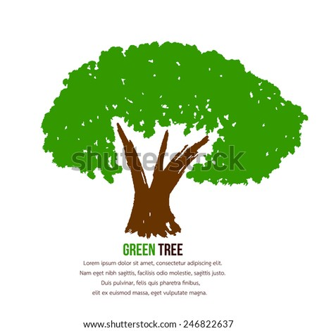 Tree with green leaves. - stock vector