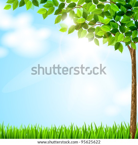 Tree with green leaves growing on the glade - stock vector