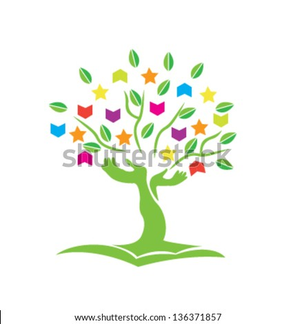 Tree with hands books stars and leafs icon vector - stock vector
