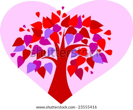 tree with many hearts for Valentines day - stock vector