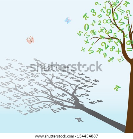tree with mathematical formulas - stock vector