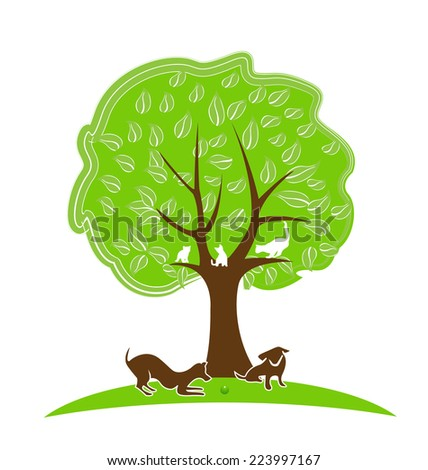 Tree with pets. Dogs and cats playing in the yard icon vector design  - stock vector