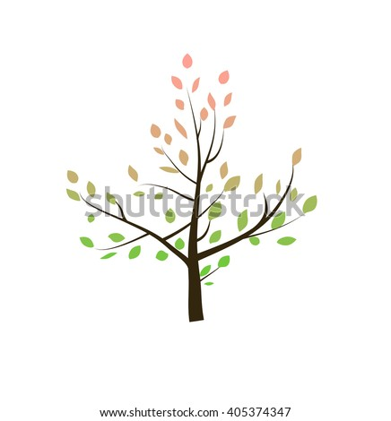 tree with red foliage leaves. Fall time of the year, spring, summer. tree on a white background. Banner nature design element - Eco and bio icon . Vector illustration. - stock vector