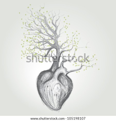 Tree with roots like heart / Surreal vector sketch - stock vector