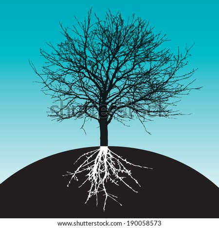 tree with roots on earth - stock vector