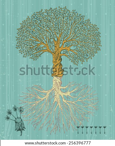 Tree with roots on rough background. Arbor day poster in vintage style.  - stock vector