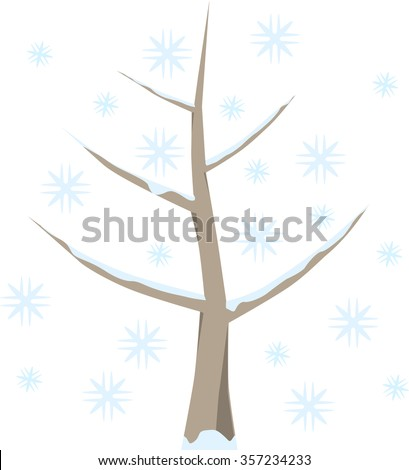 Tree with snow in winter, snowflakes in cold blue, on white background.Symbolic fruit tree as a graphic on white. - stock vector