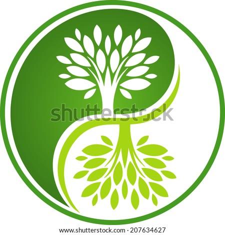 Tree Yin Yang - stock vector