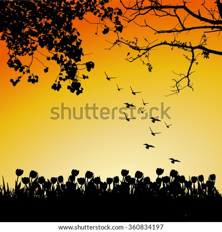 Trees and branches silhouette in aqua. Detailed vector illustration. Forest banner.tulip garden silhouette on sunset. - stock vector