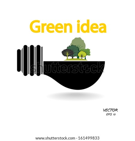 trees and green light bulb on white background,green concepts ,vector illustration - stock vector