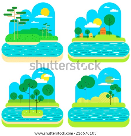 Trees and river vector flat design illustration  - stock vector
