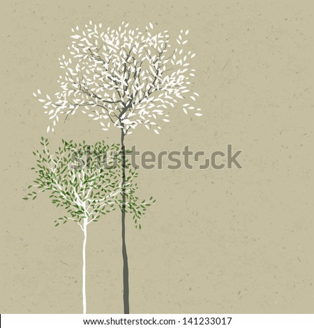 Trees background. The trunk and leaves in separate layers. Vector. - stock vector
