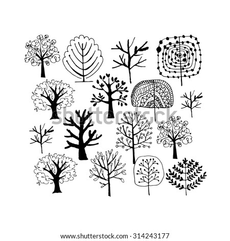 Trees collection, sketch for your design. Vector illustration - stock vector