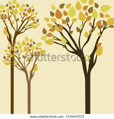 trees design over cream background vector illustration - stock vector