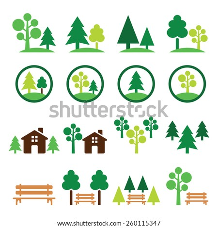 Trees, forest, park vector green icons set   - stock vector