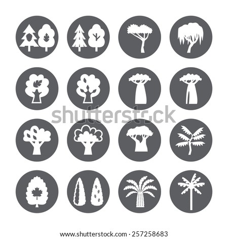 Trees icon set. Silhouette.  - stock vector