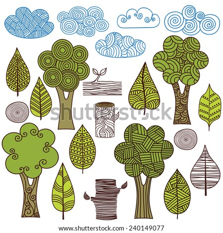 Trees, leaves, clouds. Set of graphic elements of nature. - stock vector