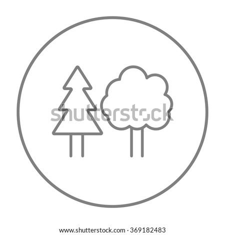 Trees line icon. - stock vector