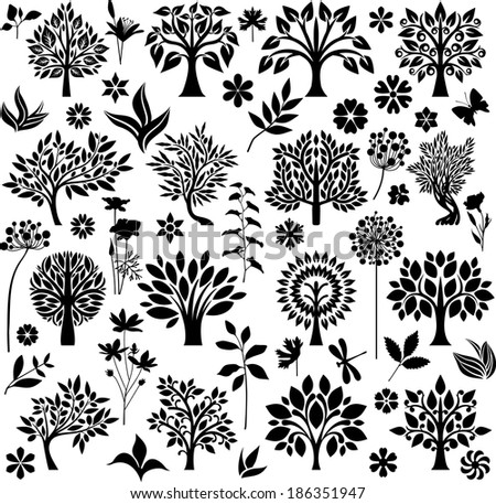 Trees, plants and flowers - stock vector