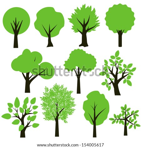 Trees simple green and black set - stock vector