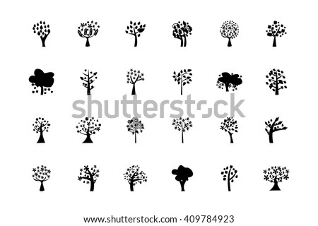 Trees Vector Icons 5 - stock vector