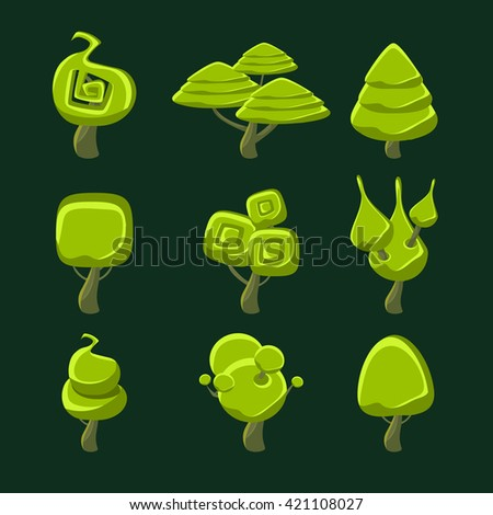 Trees With Fantastic Shape Crown Set Of Flat Bright Color Cool Fantastic Design Vector Icons Isolated On Dark Background - stock vector