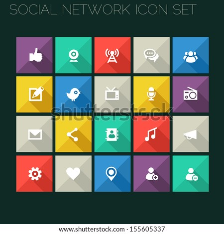 Trend social network icons with long shadows - stock vector