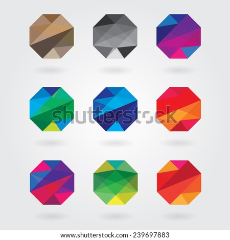 trendy abstract colorful polygon style business visual identity logotype design elements in triangular geometric pattern- web design elements - stock vector