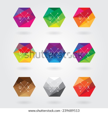 trendy abstract hexagon icon elements set in colorful polygon style with triangular geometric pattern- business hipster style logotype - stock vector