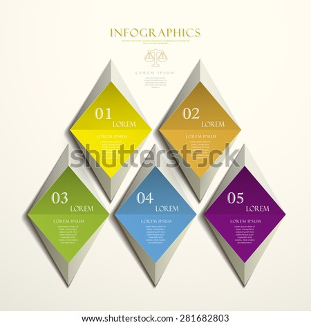 trendy attractive infographic elements design with colorful rhombus - stock vector
