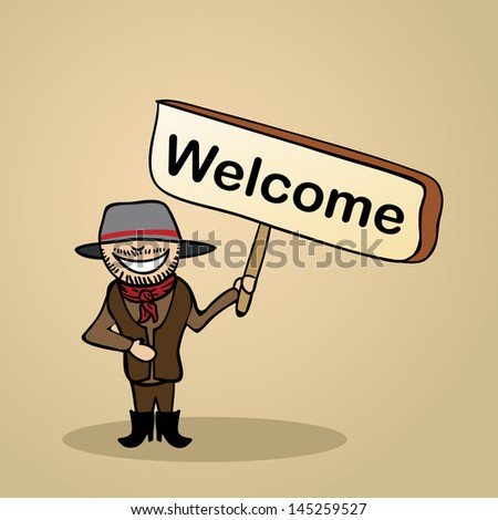 Trendy australian Man says Hello holding a wooden sign sketch. Vector file illustration layered for easy editing. - stock vector