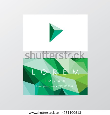 trendy business card mockup templates for company visual identity in modern low polygon style- triangular geometric composition design in blue and green shades with logo icon - stock vector