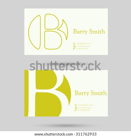 Trendy business card template. Flat design. minimalism, outline. Logo or corporate identity. letter b - stock vector