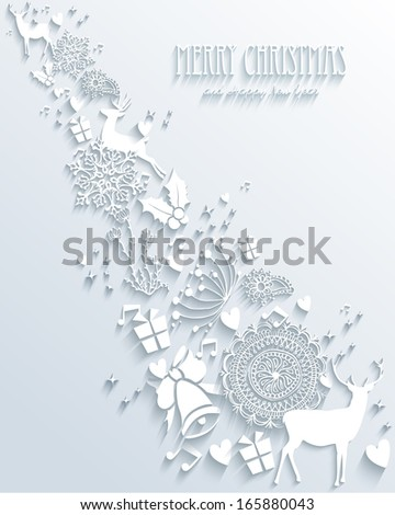 Trendy Christmas splash elements 3D white background. EPS10 vector file organized in layers for easy editing. - stock vector
