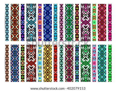 Trendy, contemporary ethnic seamless pattern, embroidery cross, squares, diamonds, chevrons. Beads, bracelet, ribbon, lace, bead weaving. - stock vector