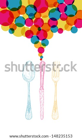 Trendy diversity colors vintage silverware icons isolated over white background. Vector file layered for easy manipulation and custom coloring. - stock vector