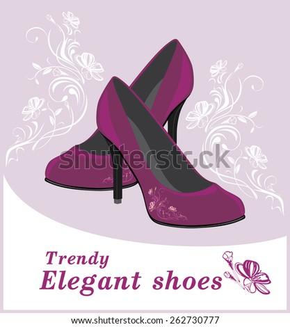Trendy elegant shoes. Label for design. Vector - stock vector