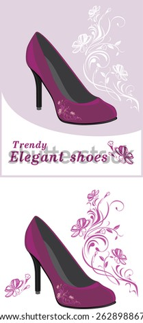 Trendy elegant shoes. Labels for design. Vector - stock vector